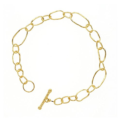 - 18k Yellow Gold Textured Matt Finish Mixed Link Chain Bracelet - 7.5