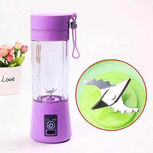 Purple Exprimidor El/éctrico USB Juicer Licuadora Taza de Jugo M/áquina de Exprimidor de Botellas de Agua de 400 ml Con 4 Cuchillas Bater/ía Recargable de 1000 mAh