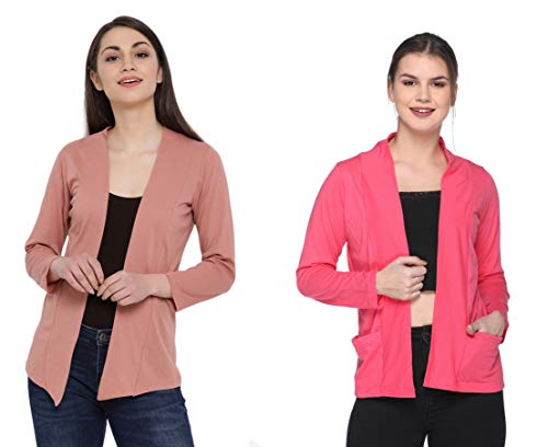 IN Love Women's/Girls Cotton Blend Casual Full Sleeves Shrugs for Summer Combo(Small-3XLarge)(Assorted)(2CWSG-5161)