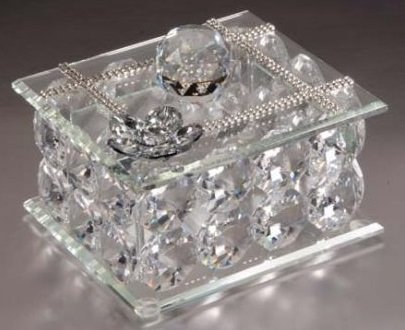 5th Ave Collection Italian Crystal Silver Jewelry Box Made of Authentic Swarovski