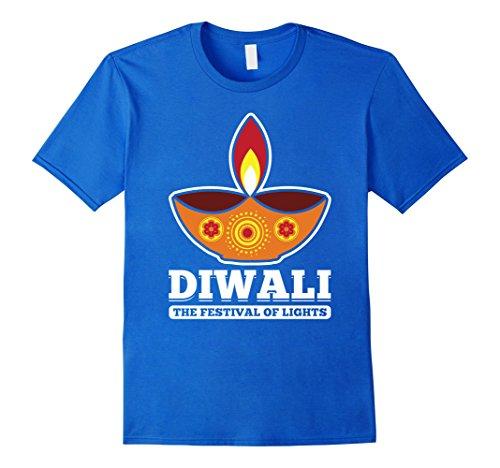 Mens Diwali Festival Of Lights Candle Style India Holiday T-Shirt Medium Royal Blue by Diwali Hindu Vibes Tees