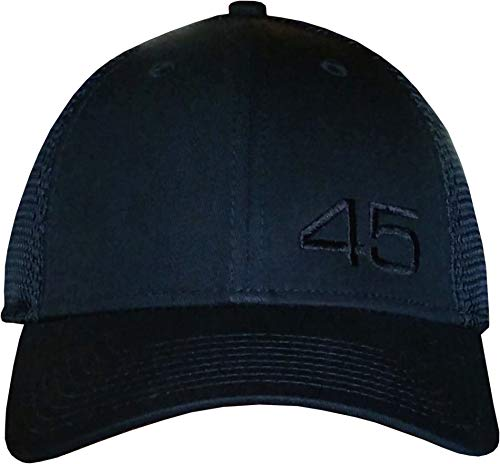 Hat Era Mesh - 45 Trump Hat - New Era Structured Mesh Back Cap (Black/Black Small Off-Ctr 45 NewEra Structured)