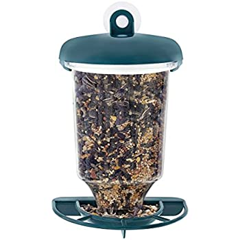 GrayBunny GB-6849 Window Bird Feeder, Green, Premium Hard Plastic, Large Seed Housing