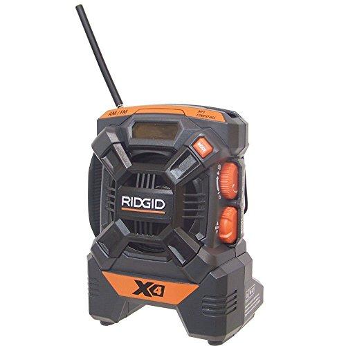 Ridgid R84084 18V X4 Hyper Lithium ion AM/FM Portable Radio Job Site Ipod MP3 (Renewed) ...
