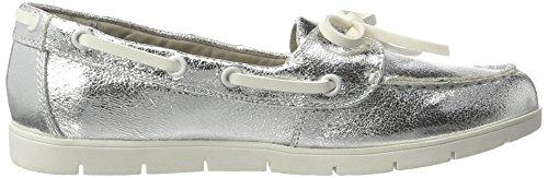 Xti Silver Metallic Ladies Shoes, Mocassins Femme Argenté (Silver Silver)