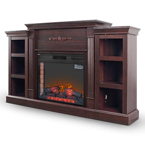 DELLA 28 In. Electric Wood Fireplace with Built-in Bookshelves and 1400W Charred Log Insert