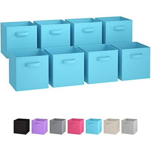 Royexe Storage Bins - Set of 8 - Storage Cubes | Foldable Fabric Cube Baskets Features Dual Handles. Cube Storage Bins. Closet Shelf Organizer | Collapsible Nursery Drawer Organizers (Blue)