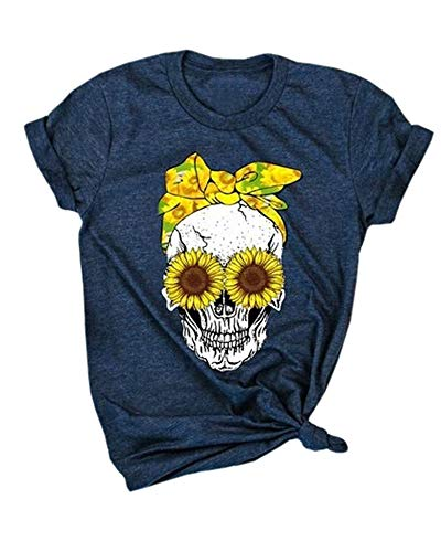 (Aiopr Graphic Tees for Women Skull Sunflower Summer Tops Casual Short Sleeve Cute Funny Loose T Shirts Blouses (Navy,Small))
