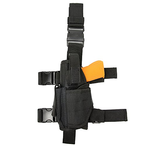 Review AIRSOFTPEAK Tactical Leg Holster Universal Pistol Drop Leg Gun Holster Adjustable Hunting Thigh Holster Left Handed with Mag Pouch, Black