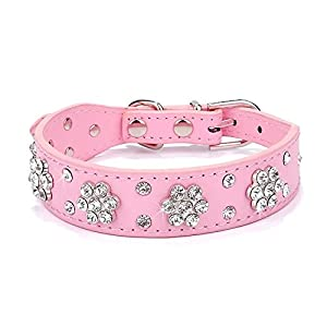 Didog - Cute PU Leather Dog Collar - Rhinestone Flower Pattern Studded - 1 Inch Width Fit Small and Medium Dogs,Pink 11-13""