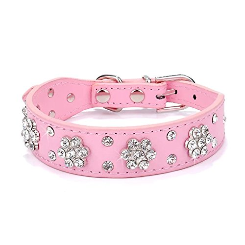 Didog - Cute PU Leather Dog Collar - Rhinestone Flower Pattern Studded - 1 Inch Width Fit Small and Medium Dogs,Pink 12-15