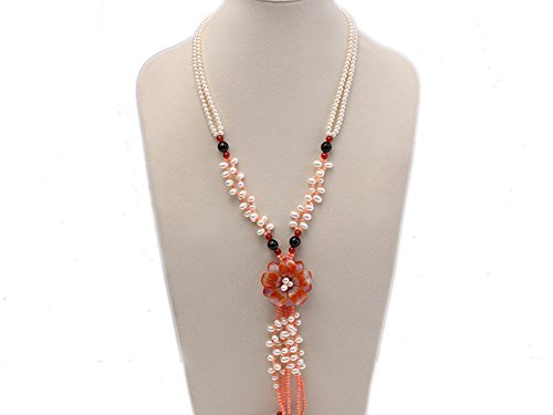 JYX Pearl Necklace 6mm Natural White Flat Freshwater Pearl with Red Agate and Pink Coral (White Pearl Red Coral Necklace)