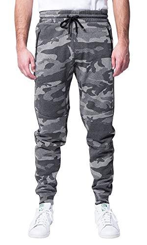 Brooklyn Athletics Men's Fleece Jogger Pants Active Zipper Pocket Sweatpants, Gray Camo, Medium (Sweatpants Camo Men)