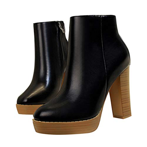 T-JULY Winter Women Fashion Thick High Heels Boots Ladies Zipper Round Toe Black Autumn Ankle Boots