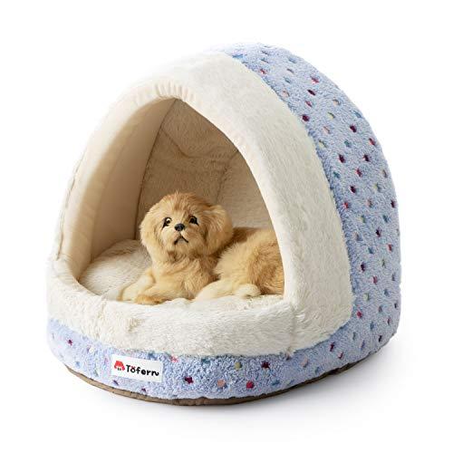 Tofern Hundebett Hundehöhle Katzenbett weich warm waschbar für kleine mittelgroße Hunde Katzen (blau)