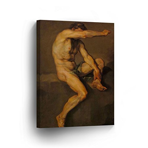 Old Style Nude Man Oil Painting Canvas Print Decorative Muscular Realistic Sexy Man Wall Art Gay Decor Artwork Wrapped Stretcher Bars - Ready to Hang%100 Handmade in The USA-CA - 28x19