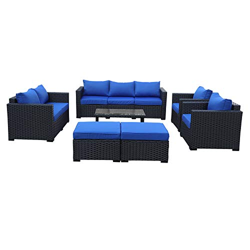 Seat Conversation Set - Patio PE Wicker Furniture Set -7 Pcs Outdoor Black Rattan Conversation Seat Couch Sofa Chair Set with Royal Blue Cushion