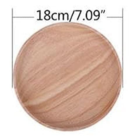 Homespun Pop Wooden Circle Plate 7.09 Inches Split Kitchen Tableware Snack Serving Trays Fruit Round Dish