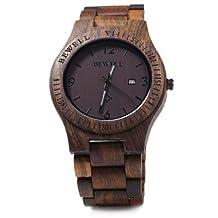 Bewell ZS - W086B Wood Men Watch Analog Quartz Movement Date Display(Ebony Wood)