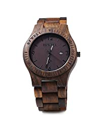Bewell ZS - W086B Wood Men Watch Analog Quartz Movement Date Display(Ebony Wood)