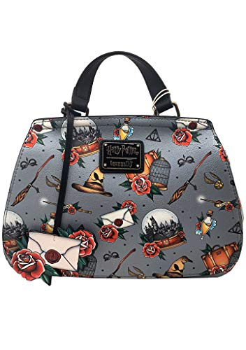 (Loungefly x Harry Potter Relics Tattoo All Over Print Crossbody Bag (One Size, Multicolored))