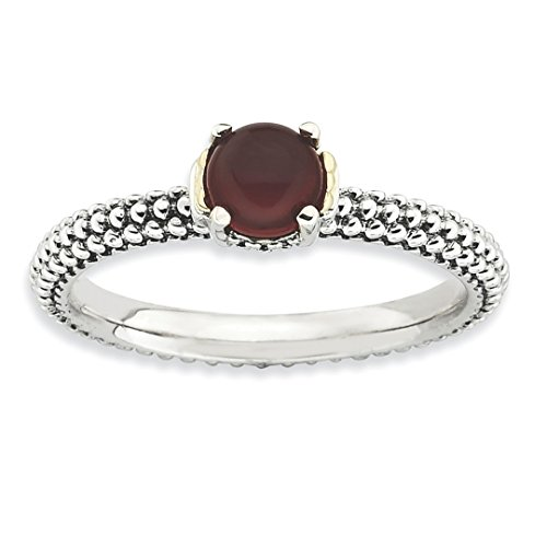 ICE CARATS 925 Sterling Silver 14k Red Agate Band Ring Size 7.00 Stone Stackable Gemstone Natural Fine Jewelry Gift Set For Women (14k Agate Jewelry Set)