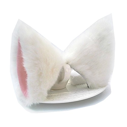 (Sheicon Cat Fox Fur Ears Hair Clip Headwear Anime Cosplay Halloween Costume Color White Pink Size One)