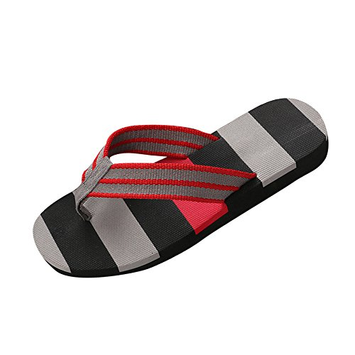 Corriee Mens Fashion Striped Printed Indoor Outdoor Flip Flops Breathable Anti-Slip Shoes Male Summer Slippers Gray by Corriee (Image #6)