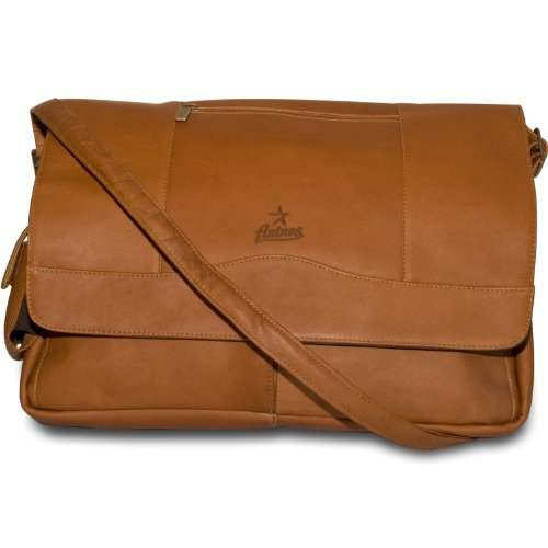 MLB Houston Astros  Tan Leather Laptop Messenger Bag