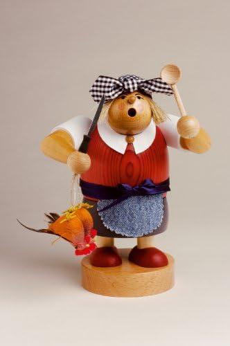 KWO Smoking Man Figurine, Widow Bolte, 20 cm, Wood, Multi-Colour, 30 x 30 x 20 cm