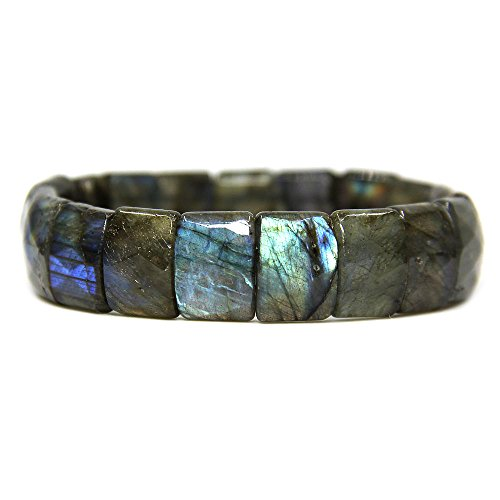 (Amandastone Natural Labradorite Genuine Semi Precious Gemstone 15mm Square Grain Faceted Beaded Stretchable Bracelet 7