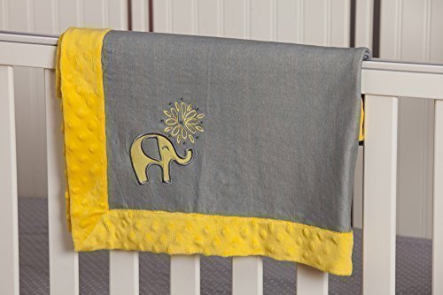 Yellow and Grey Elephant Embroidered Minky Dot Blanket by My Evergreen [並行輸入品]   B015RYF5S0