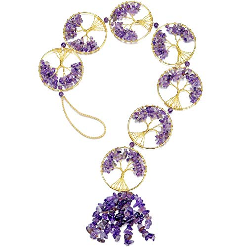 Top Plaza Reiki Healing Crystals Amethyst Tree of Life Hanging Ornament Decor Home Indoor Wall Decoration for Good Luck…