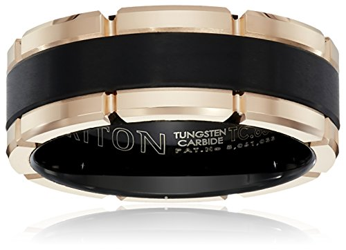 Triton Men's Black and Rose Tungsten 8mm Contemporary Wedding Band, Size 9.5 by Amazon Collection