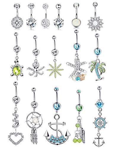 LOYALLOOK 16 Pcs Belly Button Rings for Women Girls Surgical Steel Curved Dangle CZ Navel Belly Rings Body Jewelry Piercing Barbell