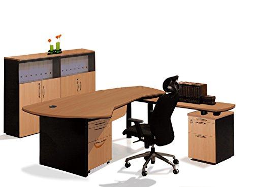 OfisELITE Desk Office Suite L-Shaped Executive Management Complete Right Group, 5 Piece, Beech/Black (Executive Right L-shaped Desk)