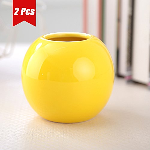 UQueen Colorful Stereoscopic Spherical Round Decorative Centerpiece Ceramic Vases Set for weddings, Artware Decoration Planter Flower Vase Home Décor for living room(Yellow) (Yellow Flower Bowl)