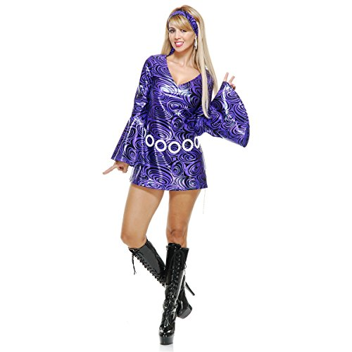 Disco Diva Purple Swirl Adult Costume - Medium