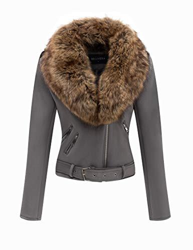 Bellivera Women's Faux Suede Short Jacket, Moto Jacket with Detachable Faux Fur Collar (Black Leather Jacket With Fur Collar Womens)