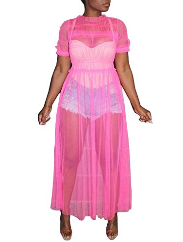 - Ophestin Womens Sexy Sheer Mesh Ruched Solid Short Sleeve Maxi Dress Cover Up Clubwear Fuchsia Size M