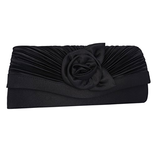 Adoptfade Para De Flor Fiesta dorado Bolso Mujer Adorno Negro Elegante Boda Solapa Seda De Clutch rwqBCHr
