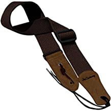 Simtyso Guitar Strap with Leather Ends and Includes Ties for Acoustic Guitars Coffee Color