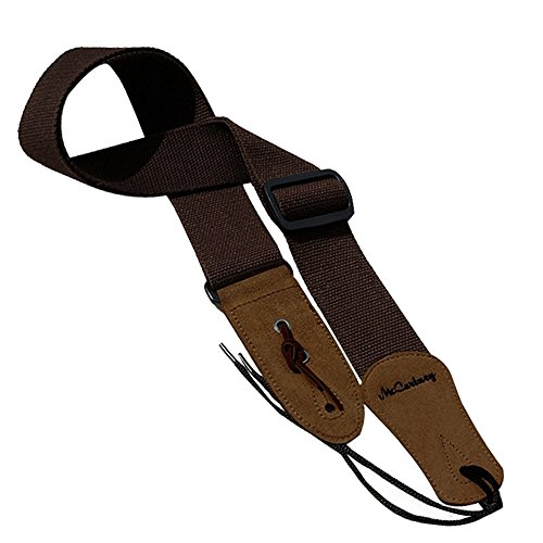 Simtyso Guitar Strap with Leather Ends and Pick Pocket Includes Ties for Acoustic Guitars Coffee Color