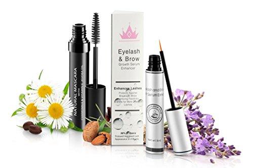 Natural Eyelash & Brow Growth Serum With Natural Organic Mascara | Gives You Longer Natural Thicker Looking Eyelashes & Eyebrows | Conditions Repairs & Stimulates Healthy New Eyelash Growth & Eyebrow ()