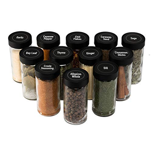 AllSpice 4 Ounce Glass Spice Jars (Same Size as Penzeys and Spice House) with Black Plastic Lids and 3 Styles of Shaker Tops- 12 Pack