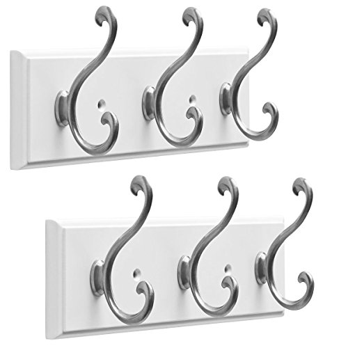 Franklin Brass (2 Pack 9.5 Inch Coat Rack Hanging Rail Mount Wall Organizer, 3 Hook Clothes Rack, Heavy ()