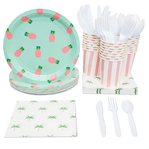 (Blue Panda Pineapple Party Supplies Pack Plates Cups Napkins (Serves 24))