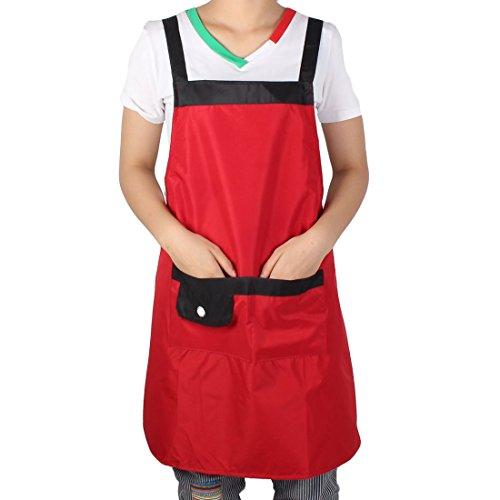 Red Kitchen Cooking Apron uxcell Dress Unisex Pocket Shop Restaurant Black Washable Hotel Coffee Dark 0x7Uqt