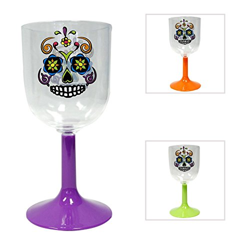 Plastic Day of the Dead Wine Glass