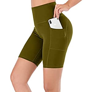 Lianshp High Waist Yoga Shorts for Women Tummy Control Athletic Workout Running Shorts with Pockets 8″